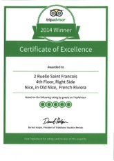 TripAdvisor Cup of Excellence 2014 for French Riviera Zen Om apartment